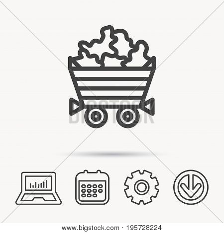 Minerals icon. Wheelbarrow with jewel gemstones sign. Notebook, Calendar and Cogwheel signs. Download arrow web icon. Vector