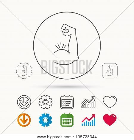 Biceps muscle icon. Bodybuilder strong arm sign. Weightlifting fitness symbol. Calendar, Graph chart and Cogwheel signs. Download and Heart love linear web icons. Vector