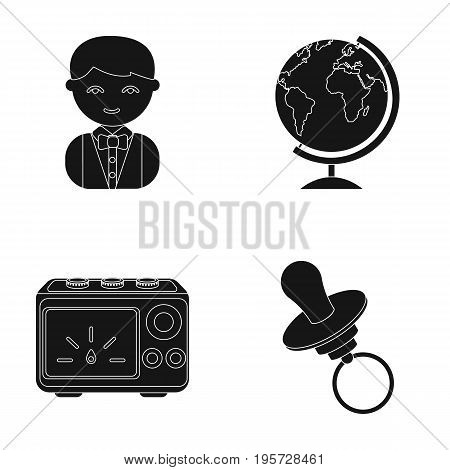 profession, nature, progress and other  icon in black style.nipple, toy, remedy, icons in set collection