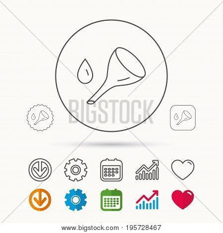 Oil change service icon. Fuel can with drop sign. Calendar, Graph chart and Cogwheel signs. Download and Heart love linear web icons. Vector