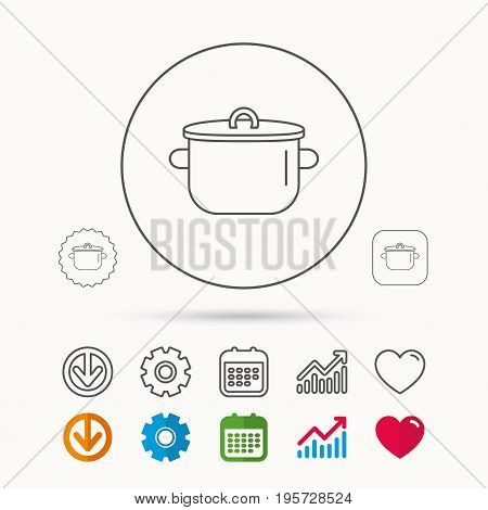 Pan icon. Cooking pot sign. Kitchen tool symbol. Calendar, Graph chart and Cogwheel signs. Download and Heart love linear web icons. Vector
