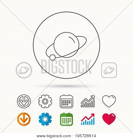 Planet icon. World globe sign. Astronomy symbol. Calendar, Graph chart and Cogwheel signs. Download and Heart love linear web icons. Vector