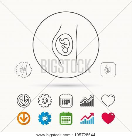 Pregnancy icon. Medical genecology sign. Obstetrics symbol. Calendar, Graph chart and Cogwheel signs. Download and Heart love linear web icons. Vector