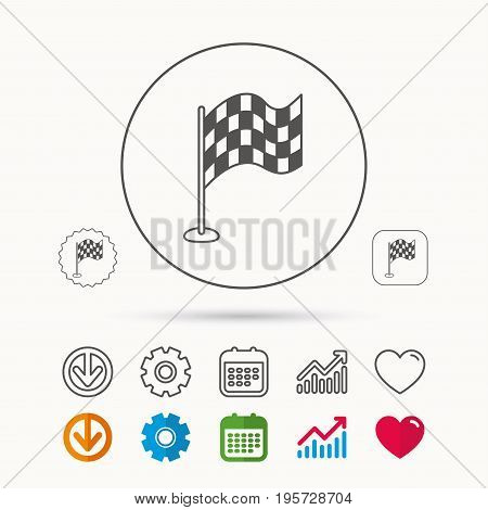 Racing flag icon. Finishing symbol. Calendar, Graph chart and Cogwheel signs. Download and Heart love linear web icons. Vector