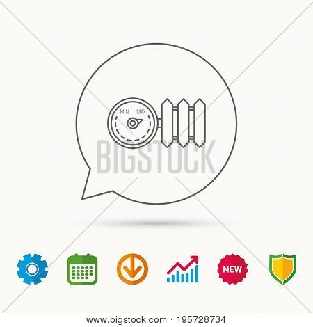 Radiator with regulator icon. Heater sign. Calendar, Graph chart and Cogwheel signs. Download and Shield web icons. Vector