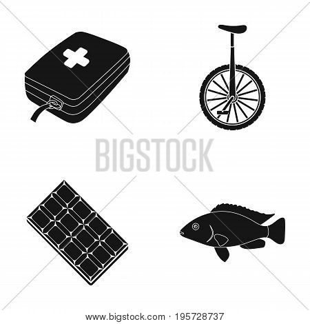 water, treat, rest and other  icon in black style. food, fish, swimming, icons in set collection