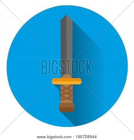 the sword icon on blue background with shadow