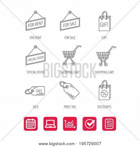 Shopping cart, gift bag and sale coupon icons. Special offer label linear signs. Discount icon. Report document, Graph chart and Calendar signs. Laptop and Check web icons. Vector