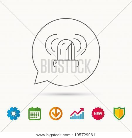 Siren alarm icon. Alert flashing light sign. Calendar, Graph chart and Cogwheel signs. Download and Shield web icons. Vector