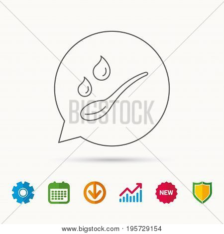 Spoon with water drops icon. Baby medicine dose sign. Child food symbol. Calendar, Graph chart and Cogwheel signs. Download and Shield web icons. Vector