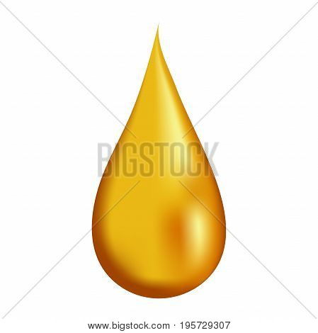 Drop of honey on white background isolated, 3d vector realistic