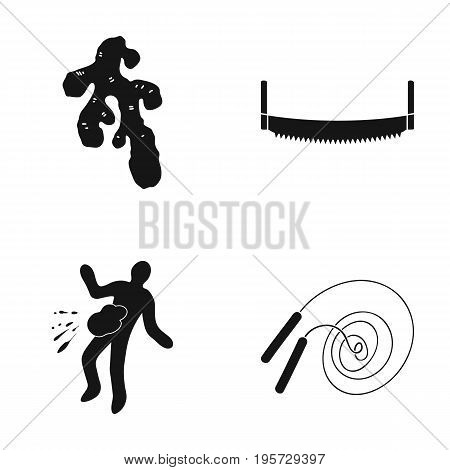 sport, investigation, equipment and other  icon in black style.play, occupation, buckles, sport icons in set collection.