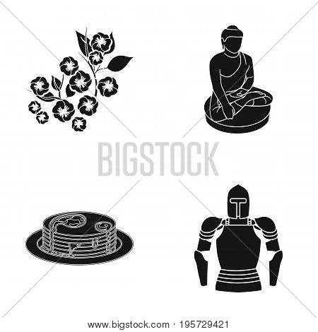 Ages, history, museum and other  icon in black style. helmet, metal, Middle icons in set collection.
