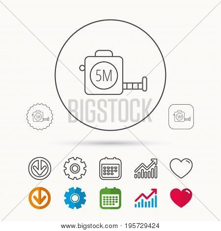 Tape measurement icon. Roll ruler sign. Calendar, Graph chart and Cogwheel signs. Download and Heart love linear web icons. Vector