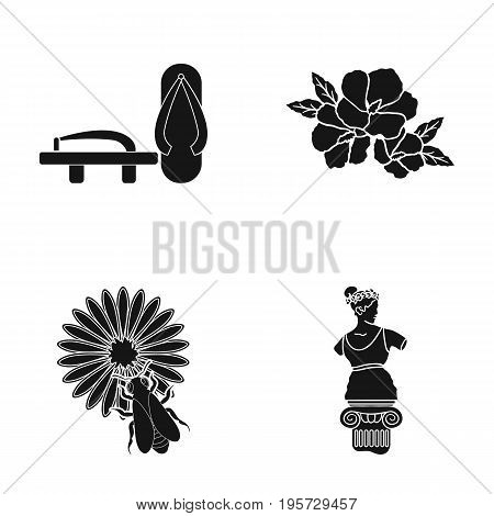 history, museum, China and other  icon in black style.sculpture, Aphrodite, statue, icons in set collection