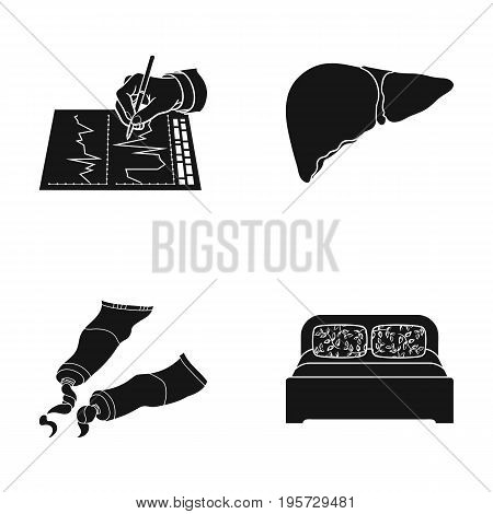 design, textiles, medicine and other  icon in black style. bed, pillow, bedspread, icons in set collection