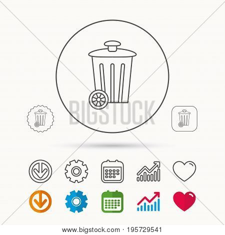 Recycle bin icon. Trash container sign. Street rubbish symbol. Calendar, Graph chart and Cogwheel signs. Download and Heart love linear web icons. Vector