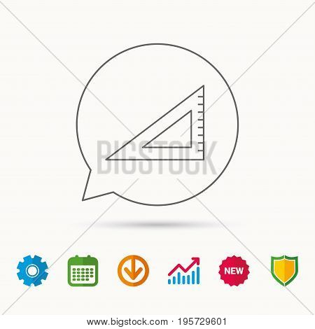 Triangular ruler icon. Straightedge sign. Geometric symbol. Calendar, Graph chart and Cogwheel signs. Download and Shield web icons. Vector