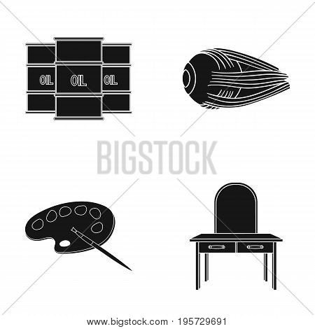 furniture, ecology, medicine and other  icon in black style. mirror, wood, glass, icons in set collection