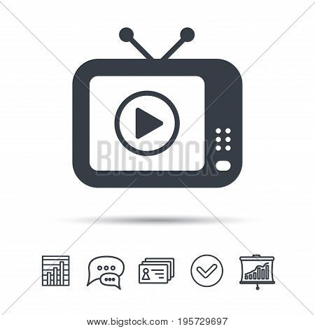 TV icon. Retro television symbol. Chat speech bubble, chart and presentation signs. Contacts and tick web icons. Vector