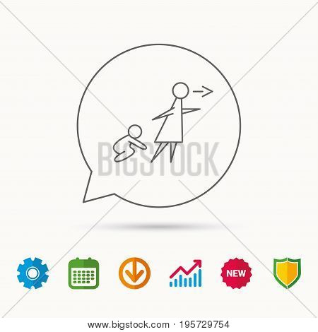 Unattended baby icon. Babysitting care sign. Do not leave your child alone symbol. Calendar, Graph chart and Cogwheel signs. Download and Shield web icons. Vector