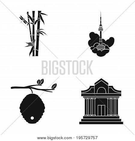 museum, beekeeping, tourism and other  icon in black style.theaters, columns, architecture, icons in set collection