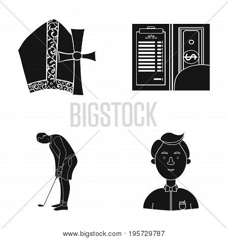 study, bank, preaching and other  icon in black style.boy, butterfly, clothes, icons in set collection