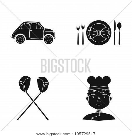 restaurant, travel, cafe and other  icon in black style.man, cap, cook, icons in set collection