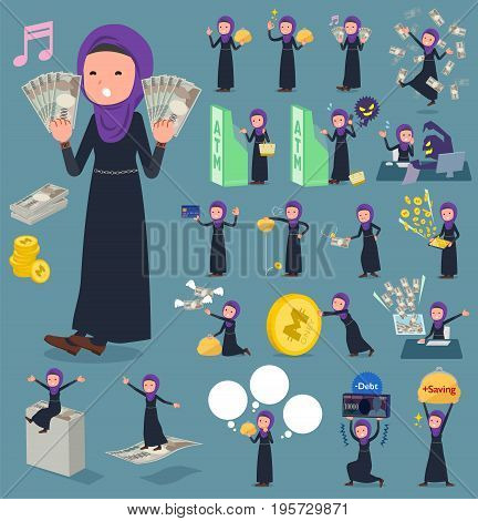 Flat Type Arab Woman_money