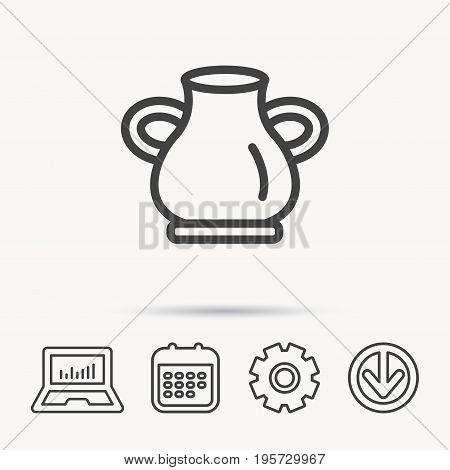 Vase icon. Decorative vintage amphora sign. Notebook, Calendar and Cogwheel signs. Download arrow web icon. Vector