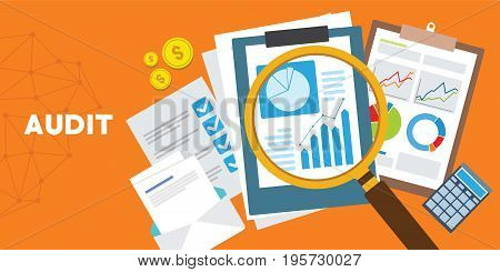 systematic and independent examination audit system vector illustration