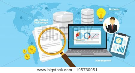 Business intelligence concept vector background illustration with various items and symbols design