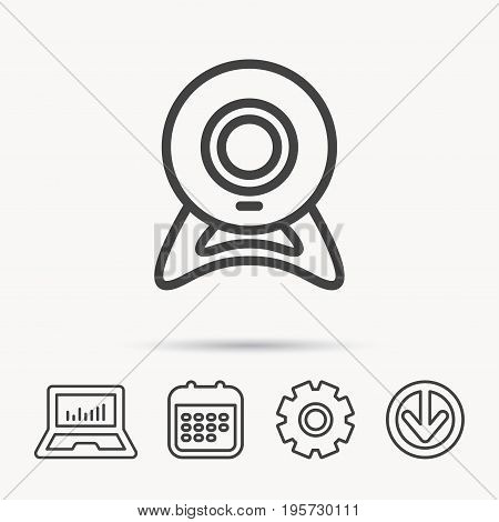 Web cam icon. Video camera sign. Online communication symbol. Notebook, Calendar and Cogwheel signs. Download arrow web icon. Vector