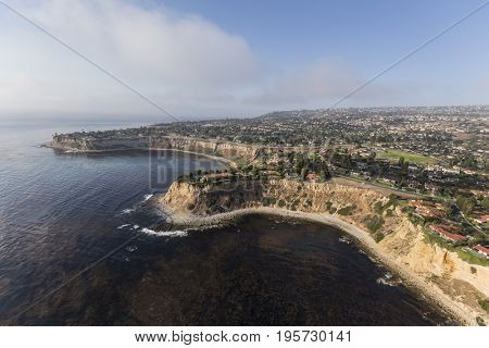 Shoreline aerial of Rancho Palos Verdes in Los Angeles County, California.