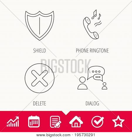 Phone ringtone, delete and chat speech bubble icons. Shield linear sign. Edit document, Calendar and Graph chart signs. Star, Check and House web icons. Vector