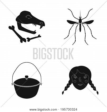 history, museum, nature and other  icon in black style.hair, braids, tourism, icons in set collection
