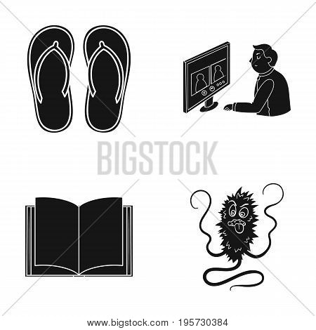 dirt, infection, hygiene and other  icon in black style.work, education, microbes icons in set collection.