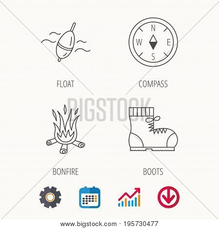Bonfire, fishing float and hiking boots icons. Compass linear sign. Calendar, Graph chart and Cogwheel signs. Download colored web icon. Vector