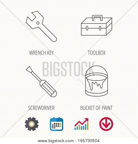 Wrench key, screwdriver and paint bucket icons. Toolbox linear sign. Calendar, Graph chart and Cogwheel signs. Download colored web icon. Vector