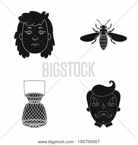 teacher, nature, history and other  icon in black style.glasses, mustache, grandfather, icons in set collection