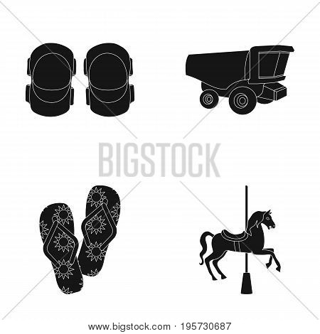game, entertainment, sport and other  icon in black style.horse, attraction, carousel, icons in set collection