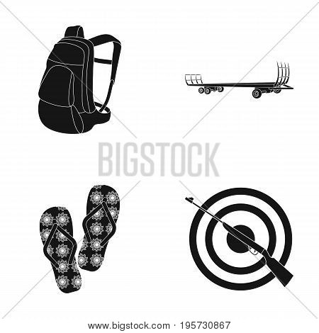 shooting range, sport and other  icon in black style.rifle, shotguns, aim icons in set collection.