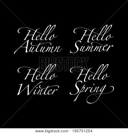 Vector set of seasonal greeting phrases. Hello autumn. Hello winter.