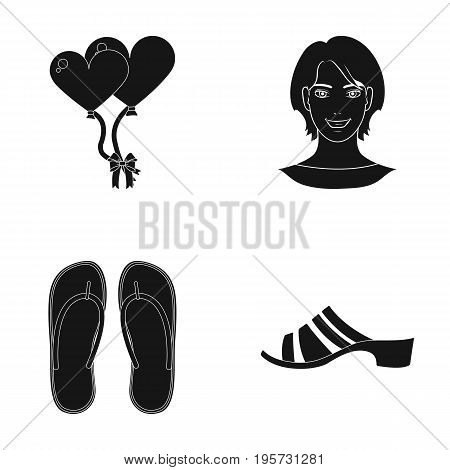 sole, powder, design and other  icon in black style. rubber, shoes, sandals, icons in set collection