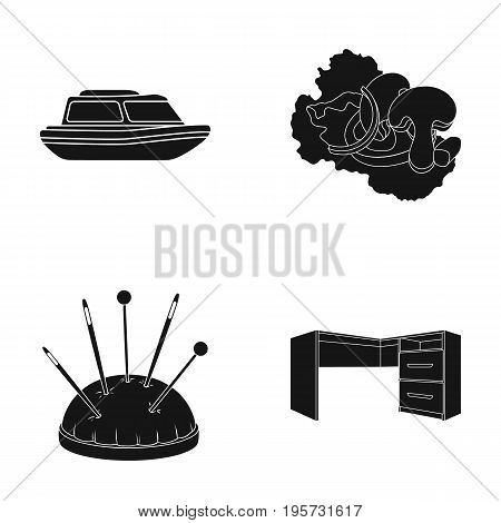tree, furniture, cafe and other  icon in black style. atelier, table, tuba icons in set collection. poster