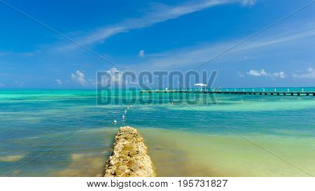 Rum Point jetty by the Caribbean sea, Grand Cayman