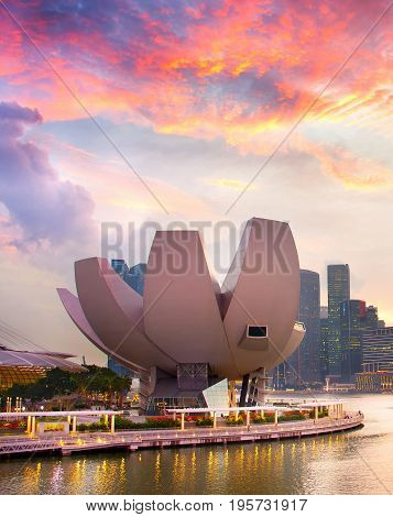 Singapore Artscience Museum At Sunset