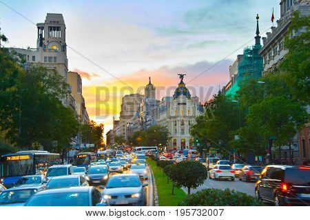 Madrid Busy Street, Spain