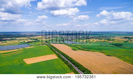 Landscape road and field view from above