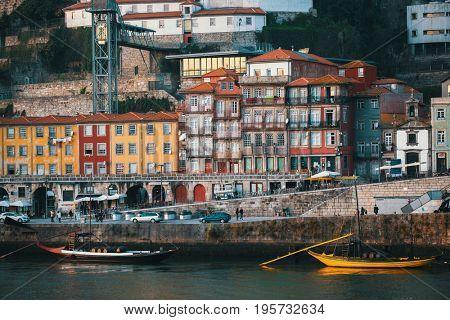 View of Ribeira at Douro river, Old Porto center, Portugal.